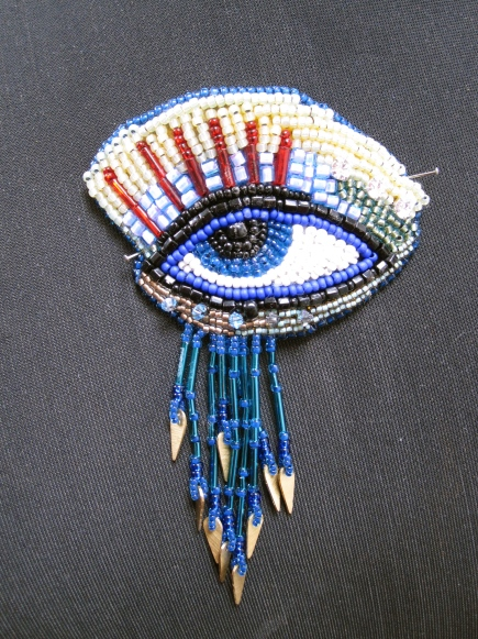 Bead embroidered eye - Stage one of neckpiece