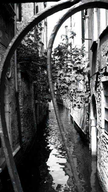 View of Canal through railings, Santa Lucia, Venice