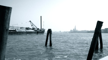 Mooring posts and tug, La Giudecca, Venice